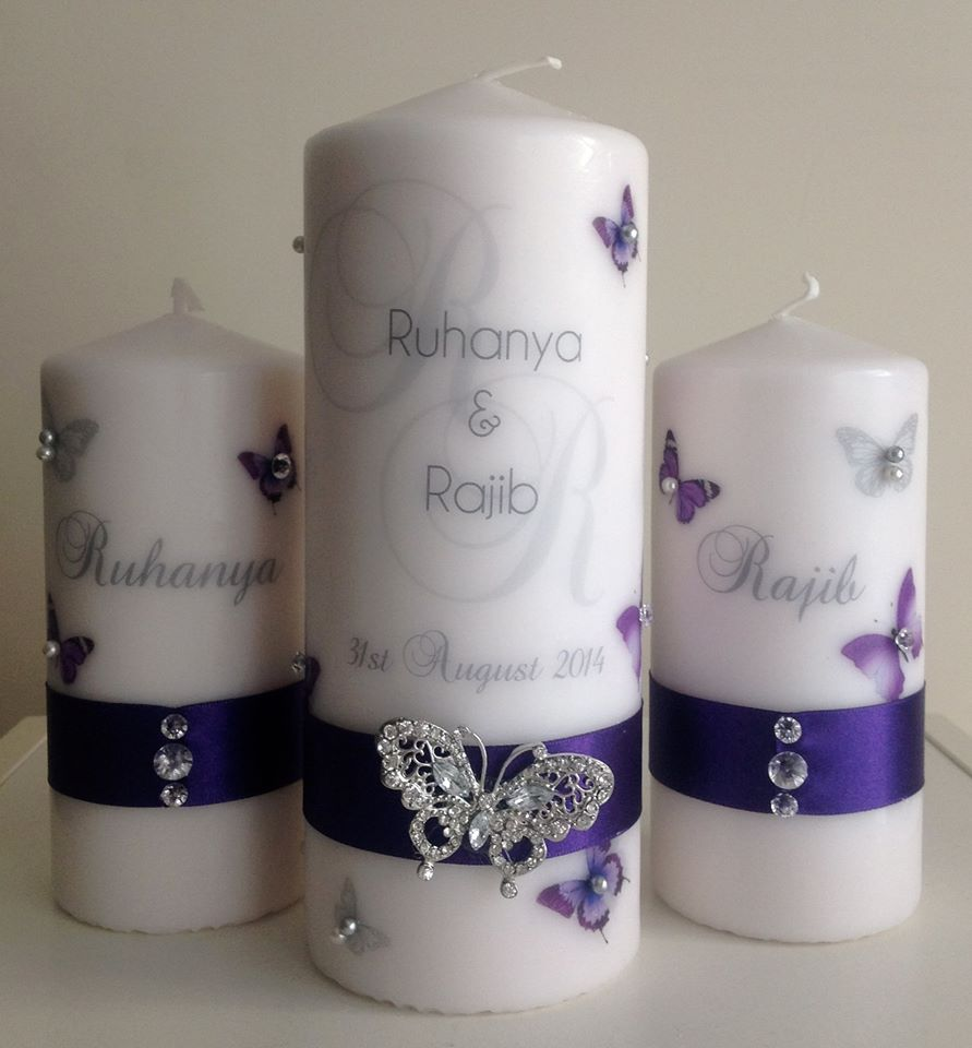 Butterfly Monogram Wedding Candle Set