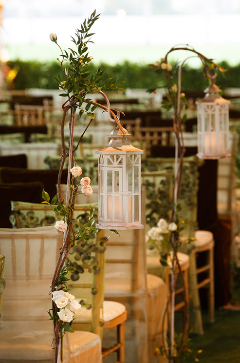 Romantic wedding ceremony candle lanterns
