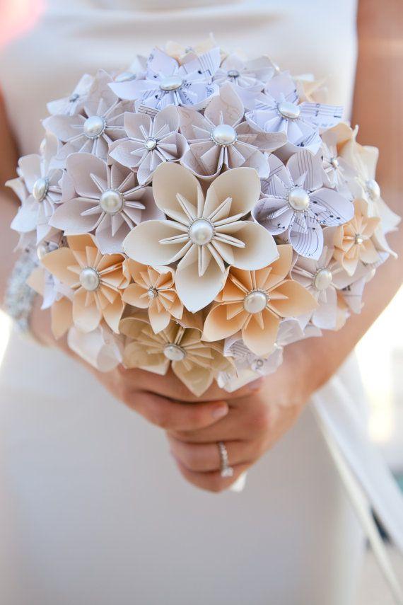 Paper flower bouquet alternative wedding bouquets