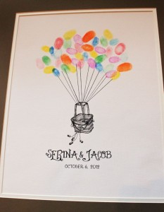 Alternative wedding guest book thumbprint