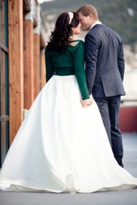 Autumn wedding inspiration warm cover up cardigan with wedding dress