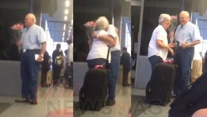 Incredible love stories elderly man waits at the airport with flowers