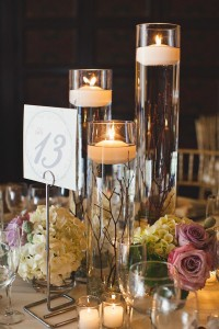 Floating candle centerpiece wedding idea