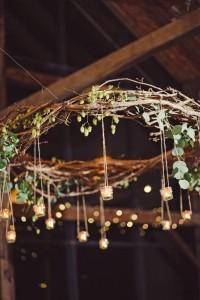 Rustic branch candle chandelier wedding idea