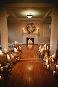 Rustic candle wedding ceremony decor