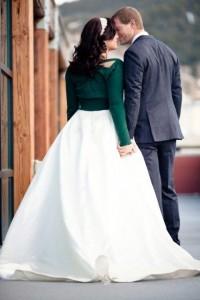 Autumn wedding inspiration warm cover up cardigan with wedding dress